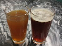 Pints of Homebrewed Hard Apple Cider and Scotch Ale